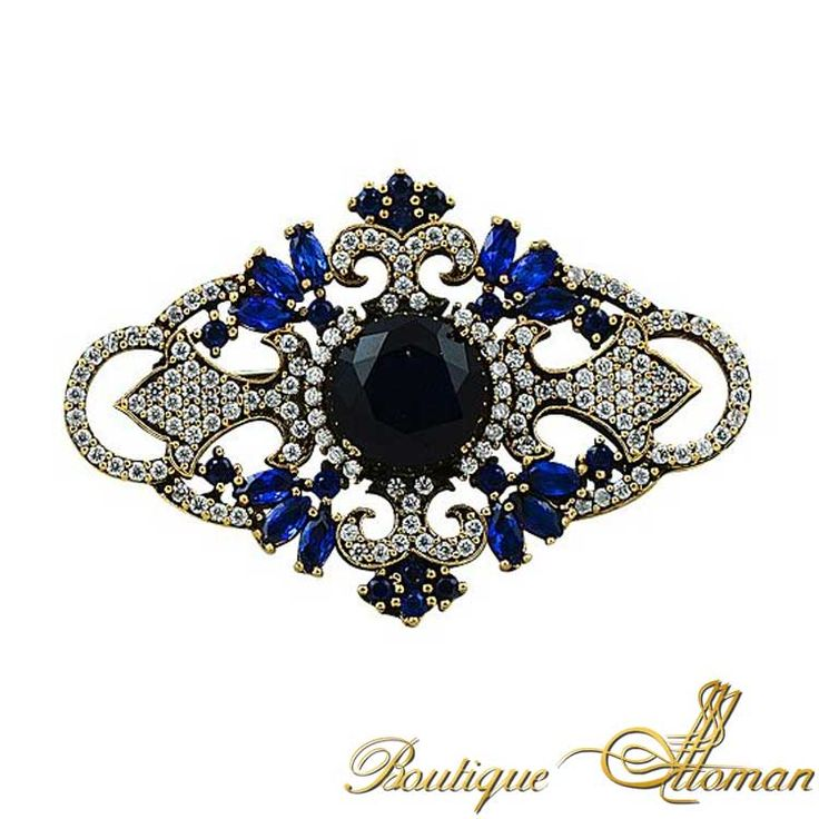 Blue Of Night Sapphire Brooch - Ottoman Silver Jewelry #brooch #brooches #silverbrooches #jewelry #clothesjewelry