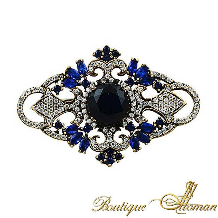 Blue Of Night Sapphire Brooch - Ottoman Silver Jewelry #brooch #brooches #silverbrooches #jewelry #clothesjewelry