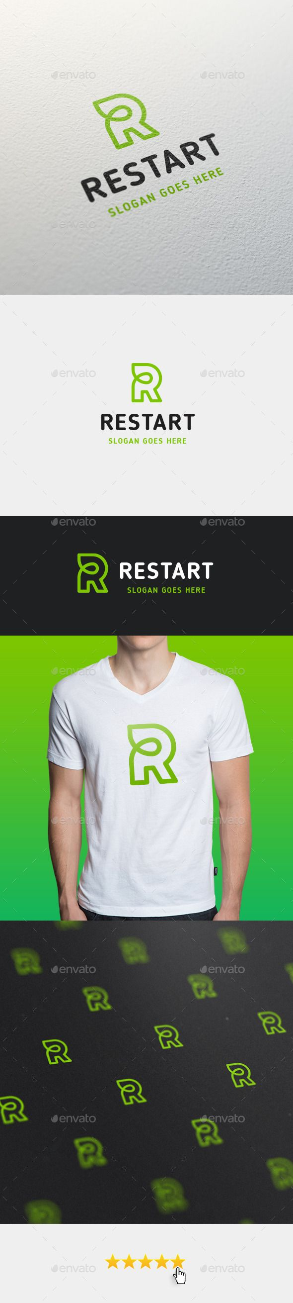 Restart • Letter R Logo Design Template - Letters Logo Design Template Vector EPS, AI Illustrator. Download here: https://graphicriver.net/item/restart-letter-r-logo-template/11422827?ref=yinkira