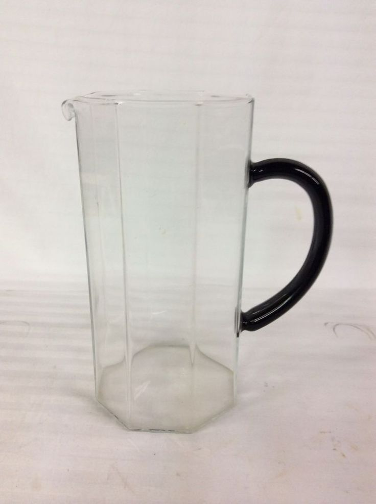 Arcoroc Clear Glass Octime Pitcher With Black Handle - Made In France  #ARCOROC