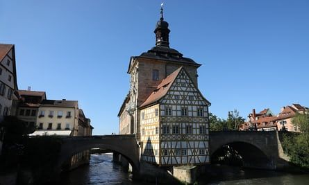 """Bamberg - the 14th century town hall """"Rathaus"""" - Journey's end: Germany summer tour ends in Franconian Switzerland. Kevin Rushby and family finish their odyssey in ancient Franconia, land of forests, fairytales – and its fair share of breweries"""