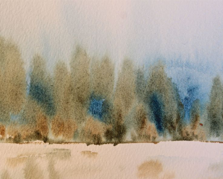 watercolour landscape:  2 colours - prussian blue and raw umber simplifies mixing.     debiriley.com