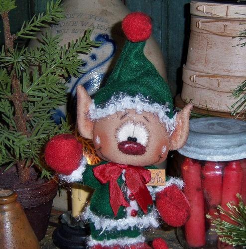 Primitive-Raggedy-Andy-Santa-Elf-Christmas-Ornie-9-Doll-Vtg-Pattis-Ratties