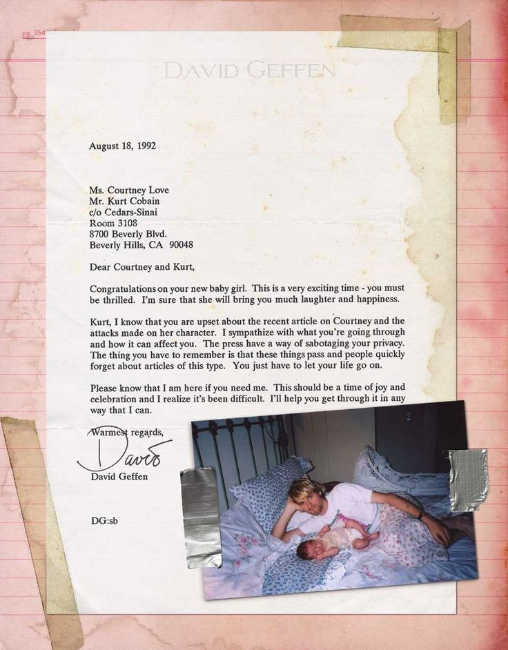 David Geffen letter to Love and Cobain 1992