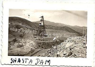 Vintage Old Photo SHASTA DAM Lake Under Construction c.1943 Rocks California