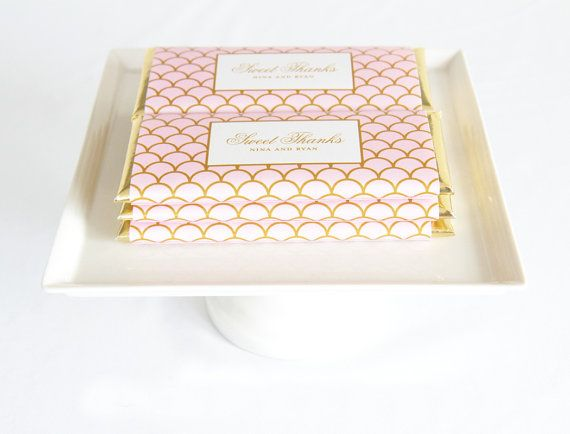 Gold and Pink Favors | Personalized Scallop Chocolate Bar Wrappers by Tableau Party | www.tableauparty.com