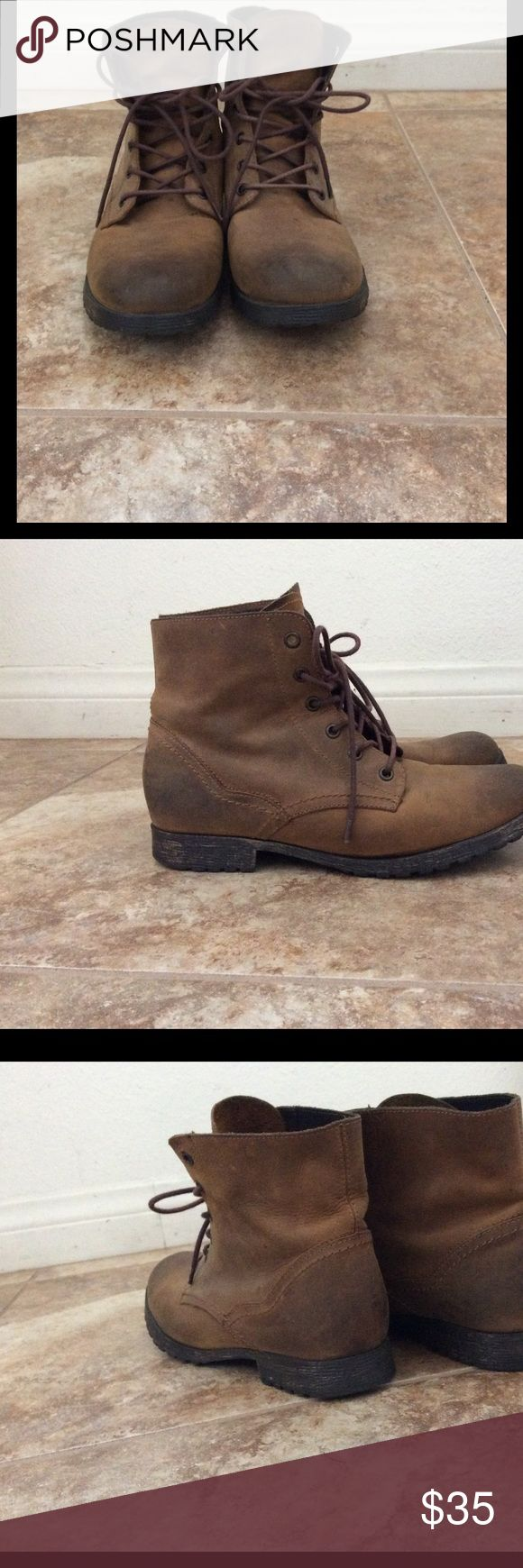 Aldo Boots In great condition only worn twice. They are very cute and comfy. Btw Aldo I feel like tends to run smaller and narrow just FYI I'm typically and 8-8.5 Aldo Shoes Combat & Moto Boots