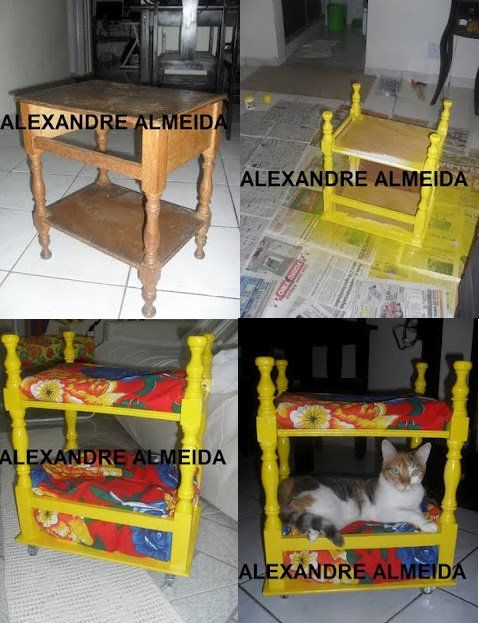DIY ok the colors are yucky, but i must find one of these tables for a kitty bunk bed! FREAKING AWESOME