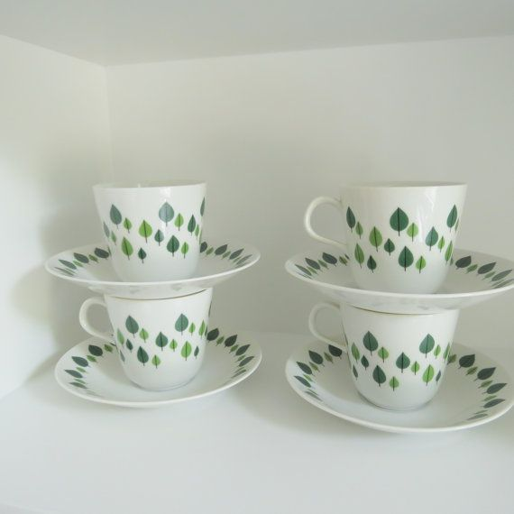 Four Rorstrand Park coffee cups in by VintageDesignTreats on Etsy