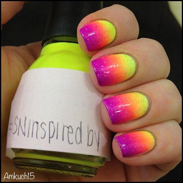 Neon Yellow, Orange, Pink & Purple Gradient Nail Art