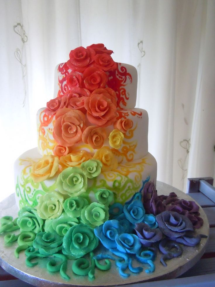 Rainbow Rose Wedding Cake...never would have thought this idea would look so neat & cool & pretty, but I really, really <3 it! It's vibrant like my personality. Idk I may have to rethink some ideas & themes. I really am loving this!!!
