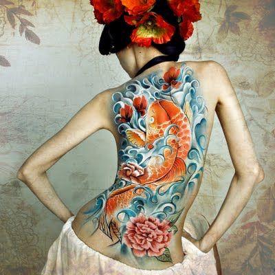 Japan: Tattoo Ideas, Koi Fish Tattoo, Body Paintings, Body Art, Tattoo Design, New Tattoo, Full Back Tattoo, Japan Tattoo, Body Tattoo