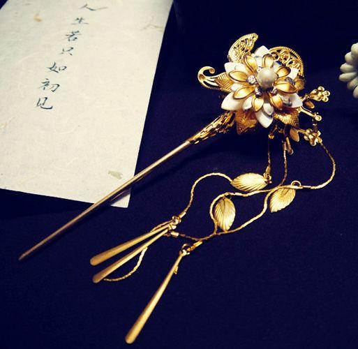 【枕上書】畫陌三生三世枕上書同款貝殼珍珠金步搖簪子古典發簪