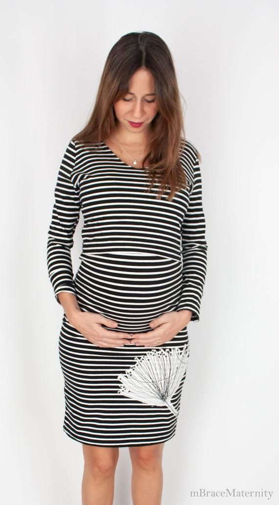 e8eb7160aaf Striped maternity clothes   cotton nursing dresses for breastfeeding. Best  new mom gift for pregnant woman or baby shower. Pregnancy dresses ...