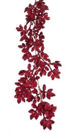 1.8m Red glitter leaf garland   Code: GALG180REDGLLEAF