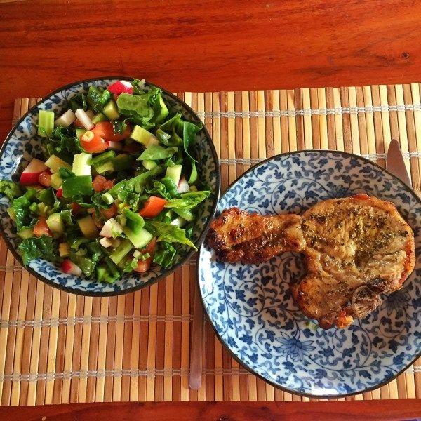 pork chop and seasonal salad