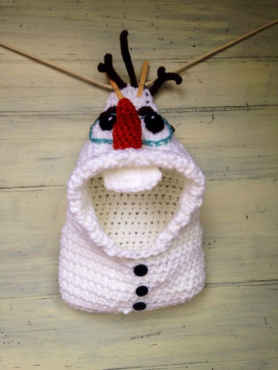 Crochet hooded cowl inspired by Olaf from Frozen on Etsy, $55.00
