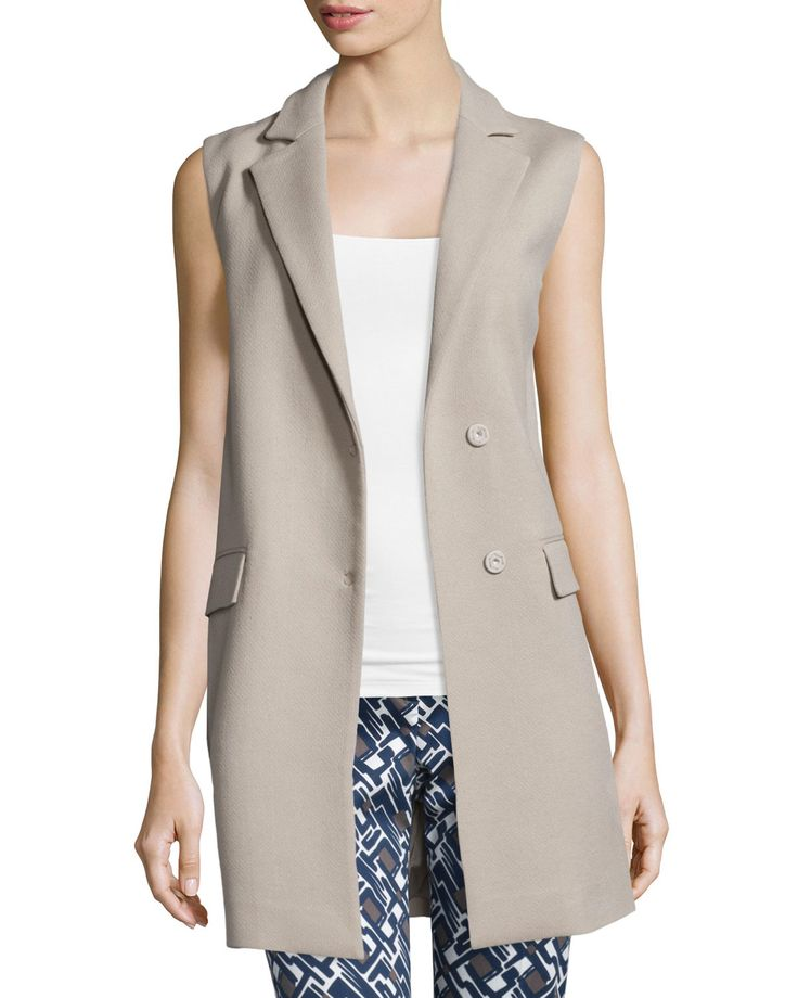 Snap-Front Long Vest, Stone (Grey) - Peserico