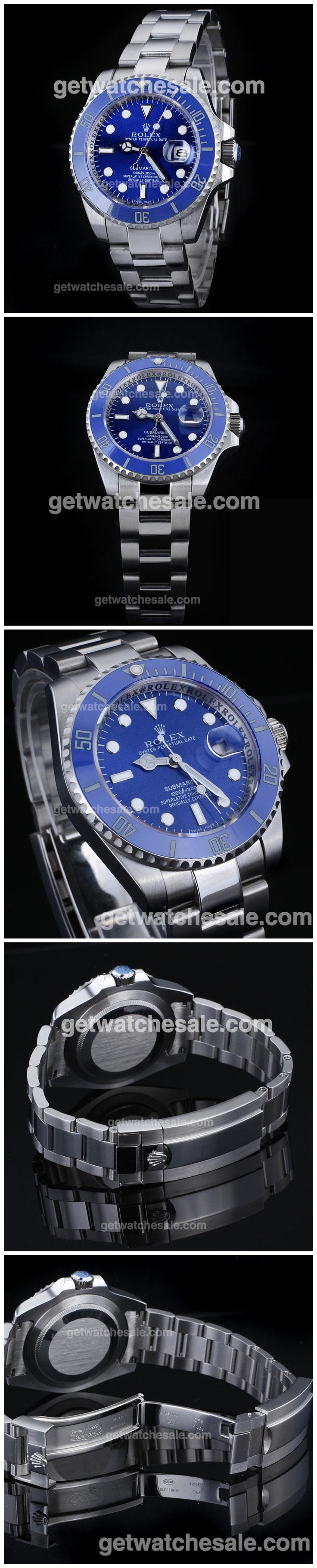 Rolex Submariner Automatic with Blue Dial S/S -Blue Ceramic Bezel,$89.99