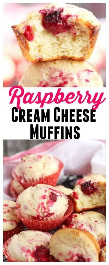 Raspberry Cream Cheese Muffins – Moist cream cheese muffins bursting with fresh raspberries. Buttermilk makes these tender and delicious. Perfect for breakfast or dessert.