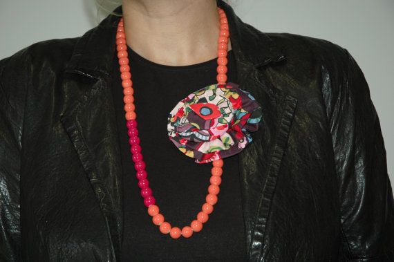 Necklace with Glass beads and separate Flower Brooch with Pin !