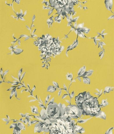 Elodie (30203) - Harlequin Wallpapers - A beautiful floral bouquet design with painterly flowers with a hand painted raised effect, in shades of grey and white on a lime matt background. Available in 6 colours. Please ask for sample for true colour match.