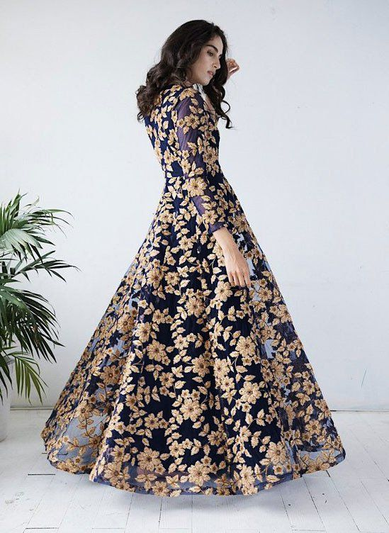 83446ed1037 Navy Blue Embroidered Net Gown