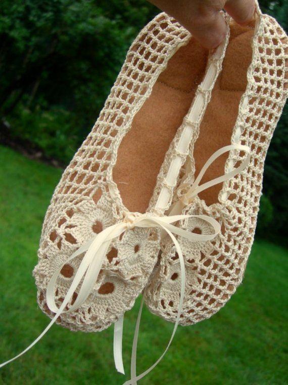 Hand Crocheted Bridal Ballet Slippers. $65.00, via Etsy.