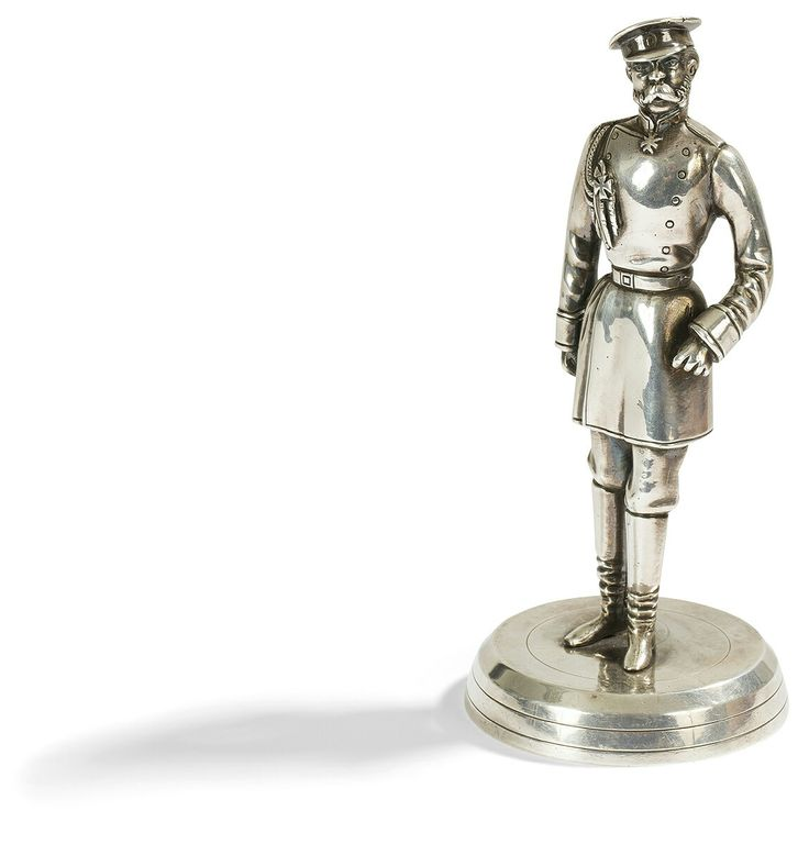 Statue Silver 84 zolotniks (875 thousandths) chased, resting on a circular base, representing the Emperor Alexander II of Russia (1855-1881) in officer's uniform, on foot, like a character from satirical news of Nicolas Gogol. Good condition.  Tallinn, 1846.