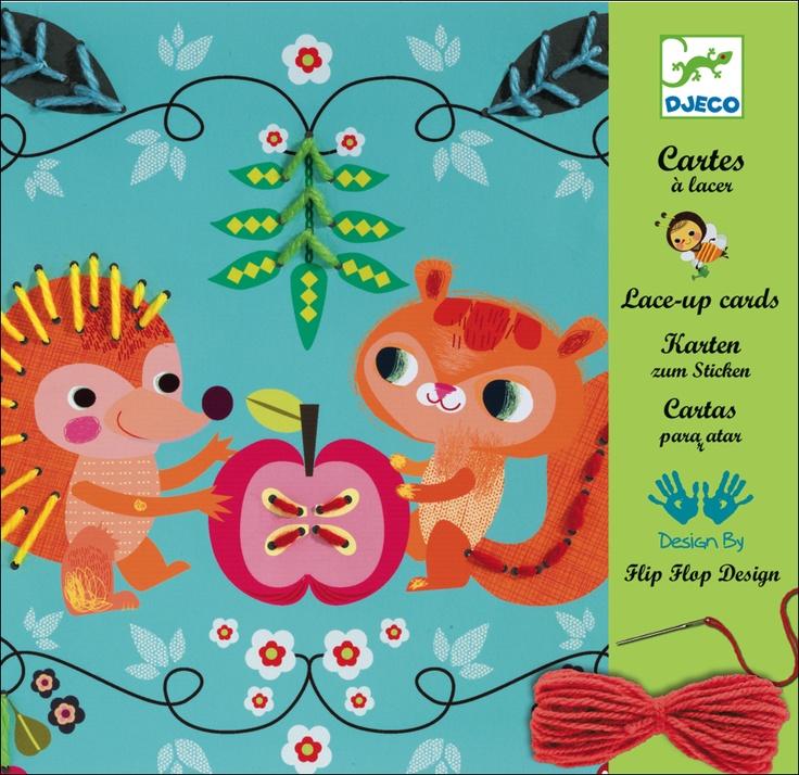 Lace-up cards by #Djeco from www.kidsdinge.com  https://www.facebook.com/pages/kidsdingecom-Origineel-speelgoed-hebbedingen-voor-hippe-kids/160122710686387?sk=wall