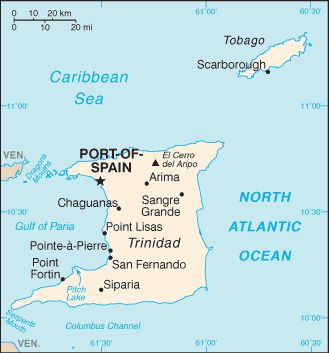 CapitalPort of Spain  10°40′N 61°31′W  Largest townChaguanas[1]  Official language(s)English  Ethnic groups (2000)40% Indian (South Asian)  37.5% Africans  20.5% mixed  (Venezuelans, Spaniards, French Creoles, Portuguese, Chinese, Britons, Lebanese, Syrians, Caribs, Italians)  unspecified 0.8%  DemonymTrinidadian, Tobagonian    Independence   - from the United Kingdom31 August 1962