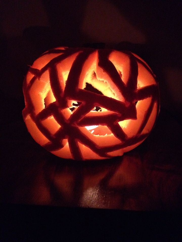 Stained glass pumpkin.