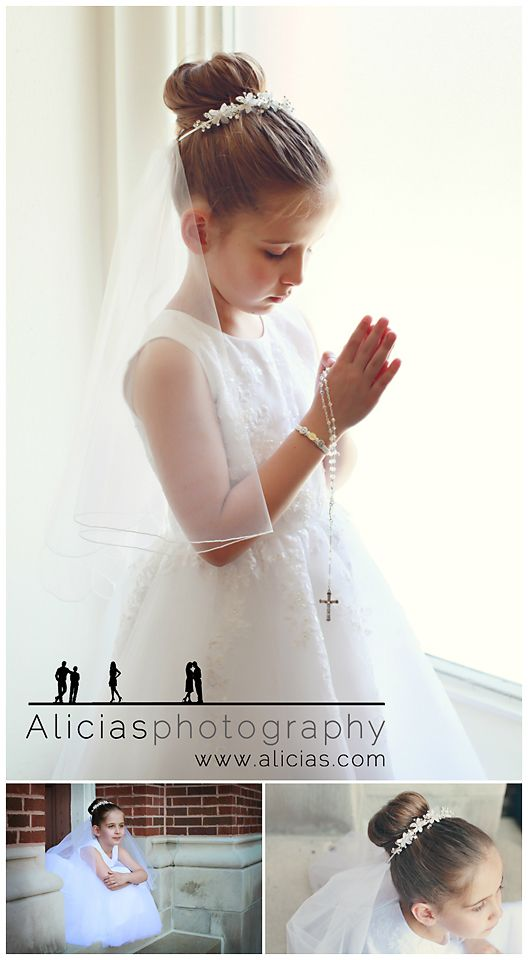 First Communion Poses: This is a very commonly seen pose used by photographers when taking photo's of a child's first communion. The symbol of the praying hands with the rosery hanging from them.