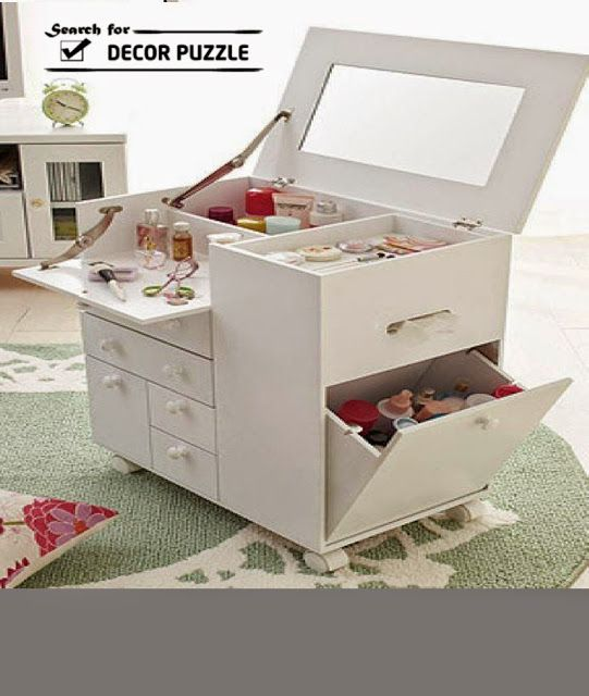 modern small white dressing table with folding mirror. This would be great for my room.