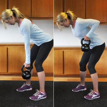 Bent-Over Row with Kettlebell—for an extra calorie burn!