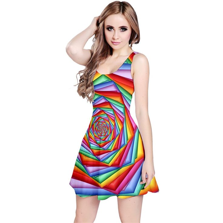 Psychedelic+Rainbow+Spiral+Reversible+Sleeveless+Dress By KittyBitty