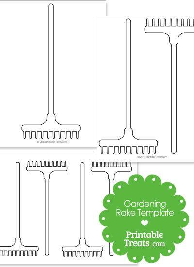 Printable Gardening Rake Template from PrintableTreats.com
