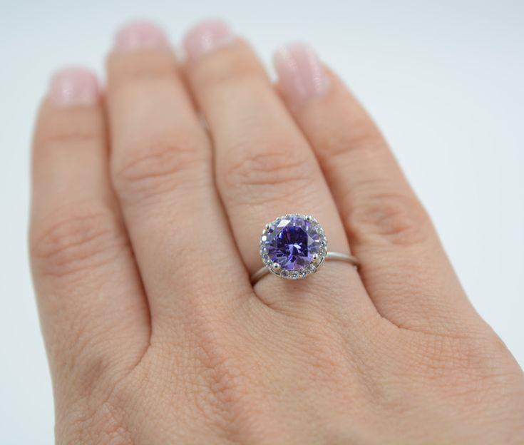 Amethyst ring. Sterling silver purple amethyst ring. Cz purple stone ring. February birthstone ring. Stacking ring. Gemstone ring. by Jadorelli on Etsy