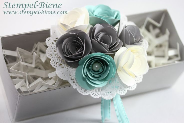 stampin up Hochzeitsgeschenk basteln, Geldgeschenk silberne hochzeit Originals Form Spiralblume, Basic Perlenschmuck groß, Papier Spitzendec...