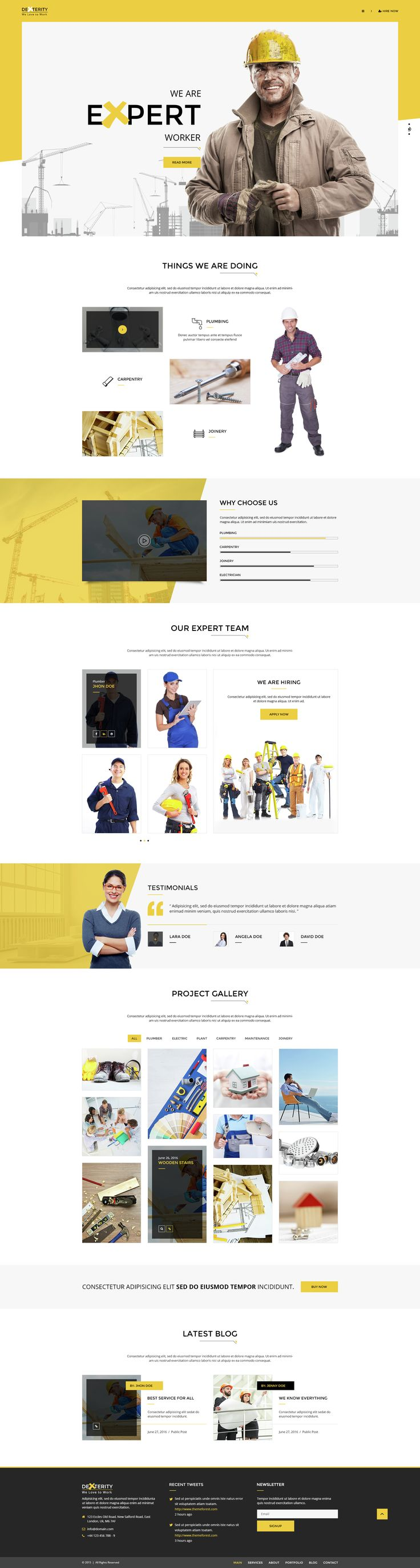 Dexterity   PSD Template For Businesses Related To Handyman, Construction,  Architect And Plumbers. Page DesignDesign LayoutsWeb ...