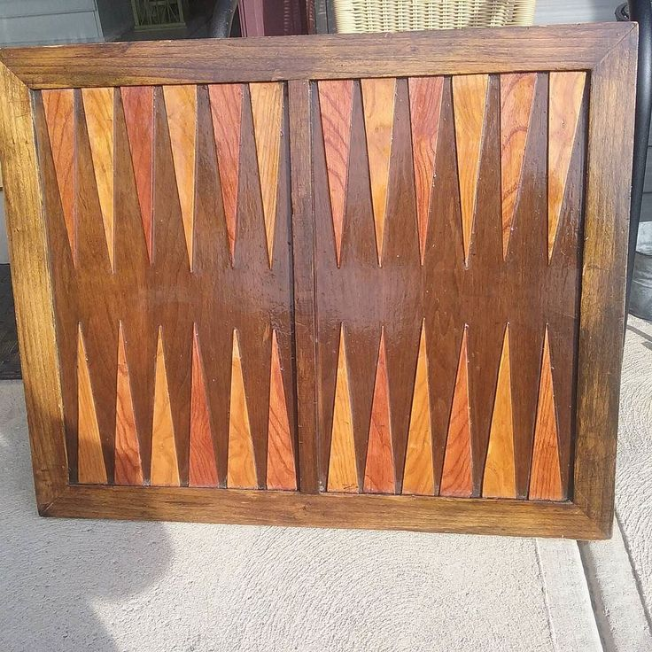 Handmade table size Backgammon board from an estate sale. Clean it up and add legs and he'll be ready for a game room man cave or pub. #aardvarkfurniture #vintagegame #backgammon #gentlemenspub #gottopneedlegs