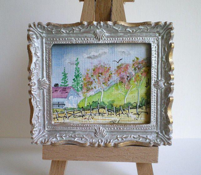 Dolls House Miniature,watercolour,White n Gold Distressed Frame,Landscape,Art £8.90