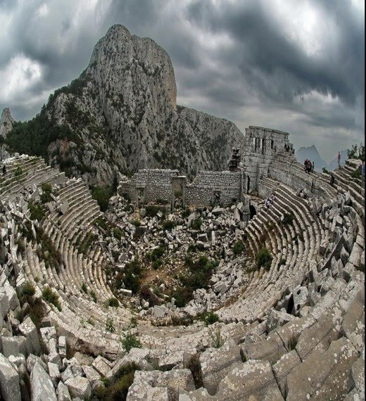 Termessos, Turkey .. an ally of the Roman Empire and totally independant by Roman grant. Eventually an earthquake did much damage and the site was abandoned.