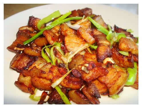 Twice Cooked Pork Belly. Ingredients: garlic cloves, sugar, soy sauce, Chinese chilli bean paste.  Time: 20 mins.
