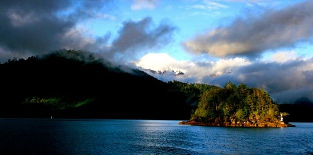 Eco-biological reserve in Chile Huilo Huilo lake-winner of eco, community, sustainable tourism awards.