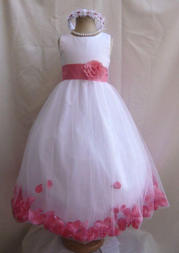 Flower Girl Dress WHITE w/ Guava PETAL Wedding by LuuniKids, $39.00