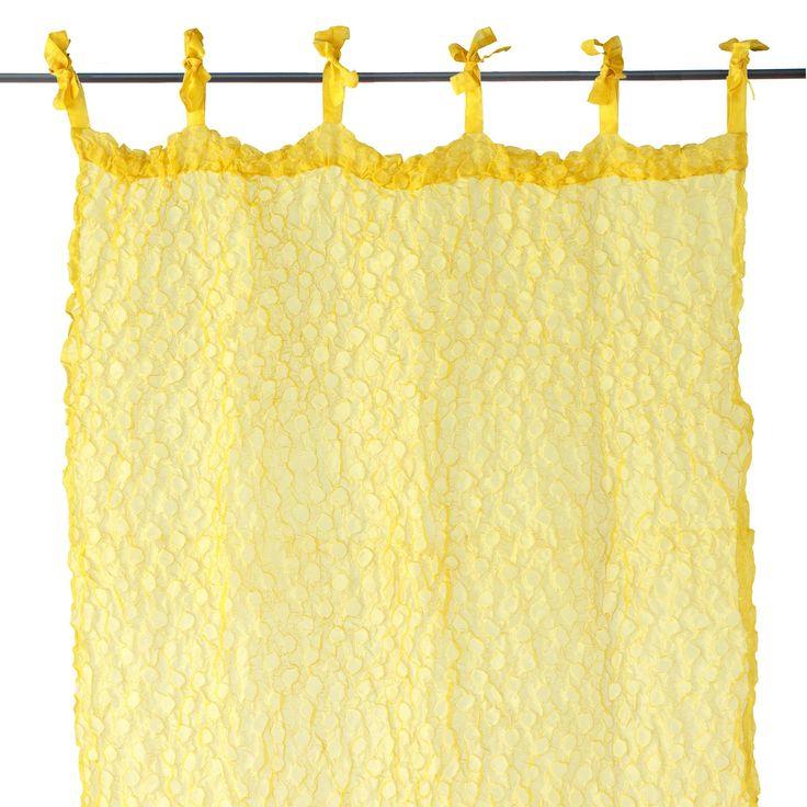 Voilage gaufr jaune jaune techno text les voilages for Laure de flores linge de maison