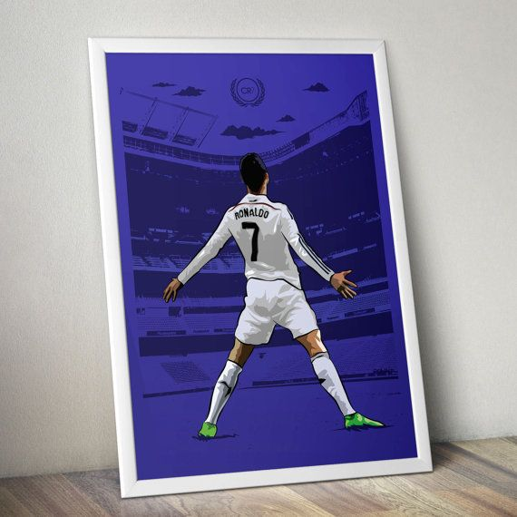 Real Madrid superstar Cristiano Ronaldo CR7 Print by Kieran Carroll Design on Etsy. Ronaldo shown in his famous celebration stance in the Santiago Bernabeu, home ground of Real Madrid CF