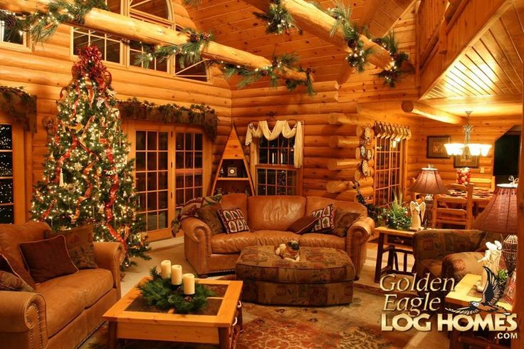 Log homes feel even more cozy & warm during the holiday season.