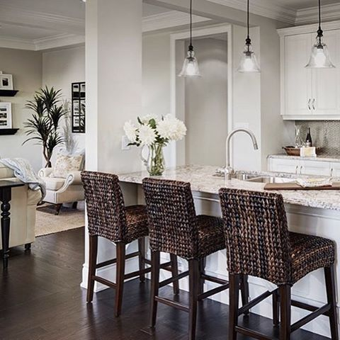 Let's start the week out with something lovely! Our Seagrass Barstools are looking stunning in this beautiful kitchen. #kitchengoals #interiordesign #MyPotteryBarn